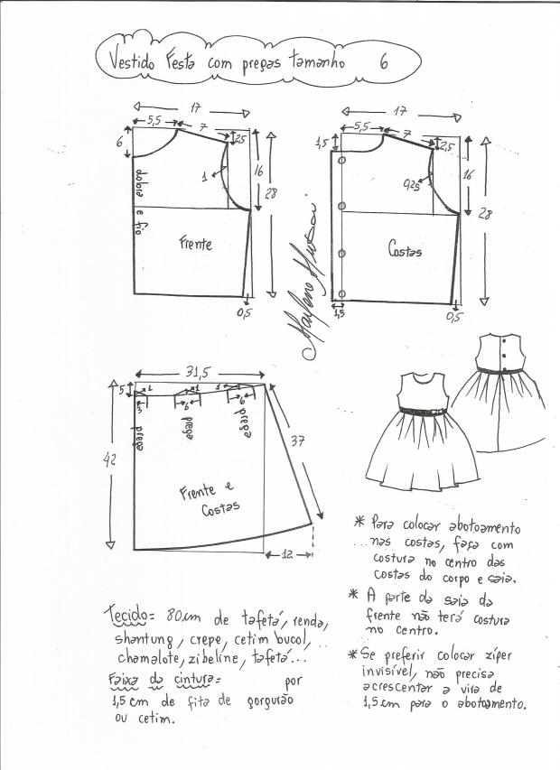 Patrón vestido de fiesta para niña con la falda plisada - Patrones ...