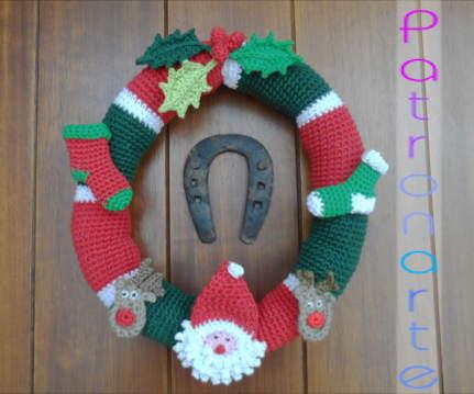 Corona para Navidad de Crochet - Patrones gratis