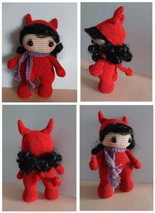 Muñeca diablesa en amigurumi con patrón