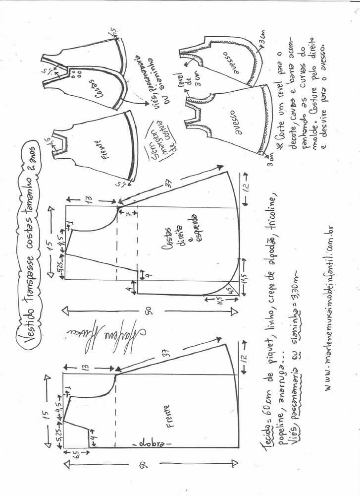 bbfac4edf Patrón de vestido de niña cruzado y botones en la espalda - Patrones ...