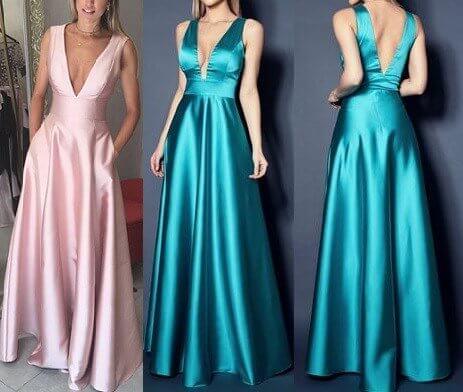 Vestidos largos escote en v