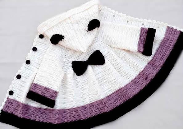 33763ae40 DIY Abrigo de niña tejido a crochet - Patrones gratis