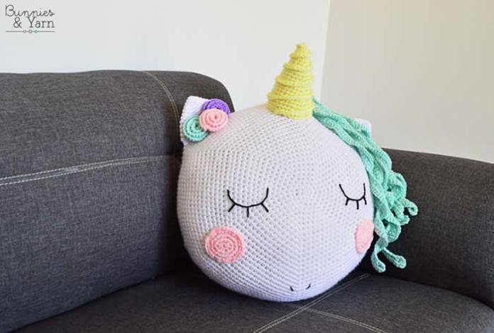 DIY como hacer un cojín unicornio a crochet - Patrones gratis