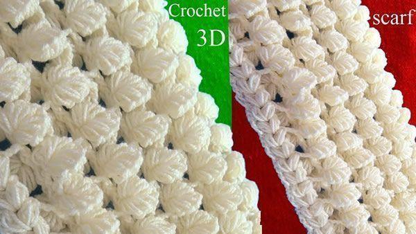 Bufanda a Crochet en punto 3D de hojas reversibles