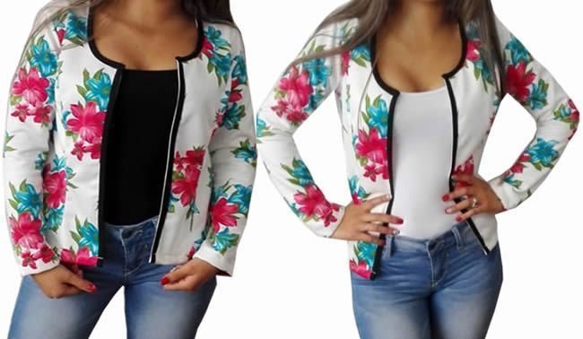 DIY chaqueta casual floreada