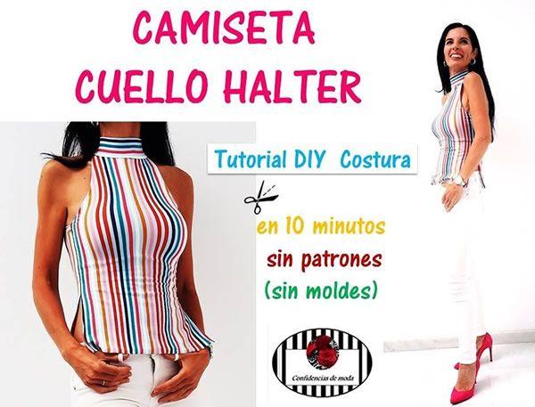 Camiseta con cuello halter sin patrones en 10 minutos