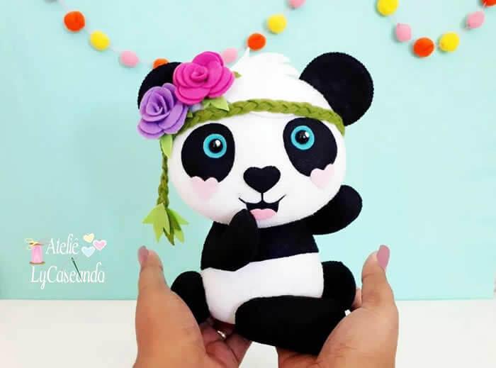 oso panda bebe en fieltro - Patrones gratis