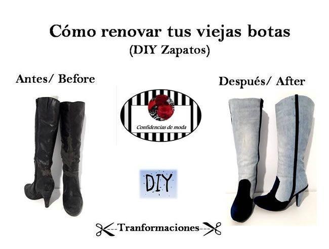 DIY Renovar botas con jeans desgastados y terciopelo