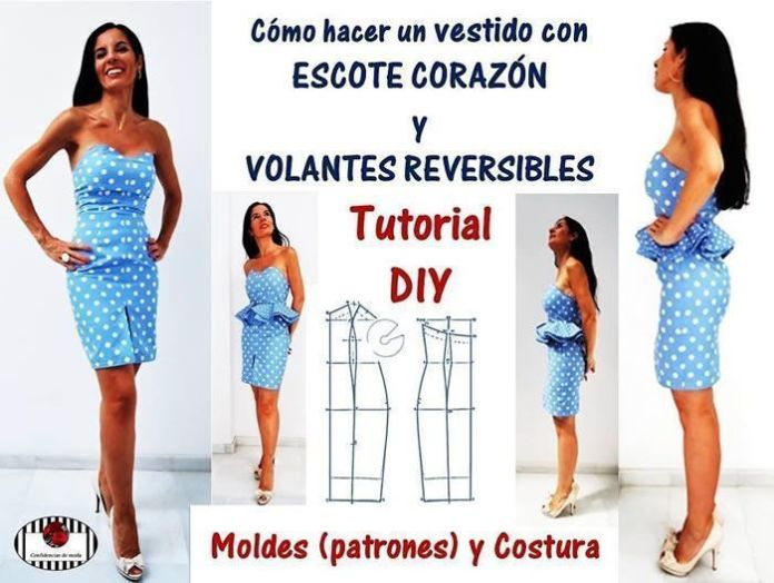 Vestido con escote corazón y volantes reversibles - Patrones gratis
