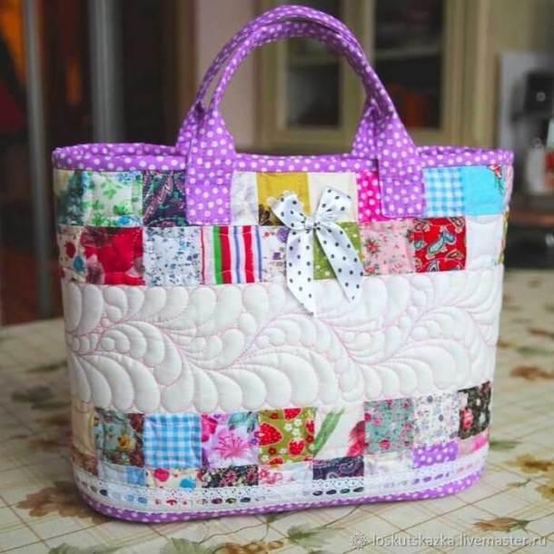 DIY Cesta-bolsa acolchada en patchwork