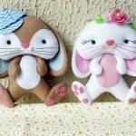 Moldes de lindos conejos en fieltro