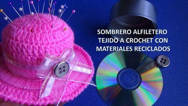 DIY Sombrero alfiletero con lata y CD reciclados