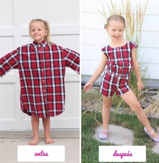 Inspiración e ideas para transformar camisas hombre en ropa niñas