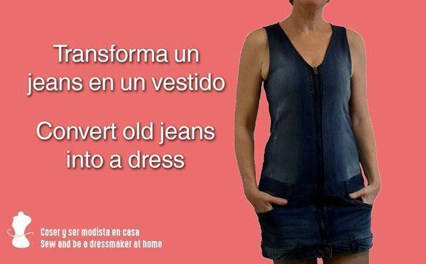 DIY Transforma un jeans o pantalón vaquero en un vestido