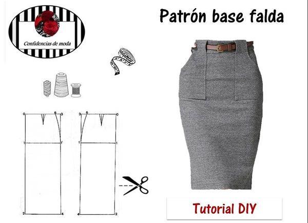 Patrón base de falda recta