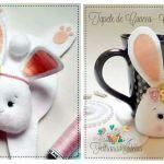 Molde de muñeco posa tazas en forma de conejita