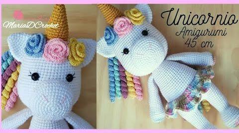 ▷ Patrón gratuito y en español de amigurumi llavero de unicornio | 267x480