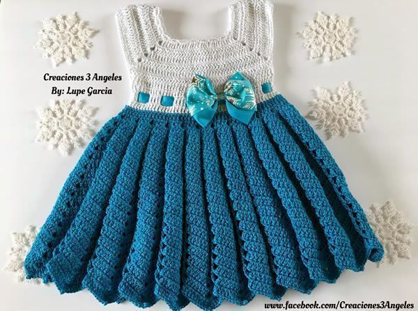 DIY Vestido tejido a crochet de Frozen