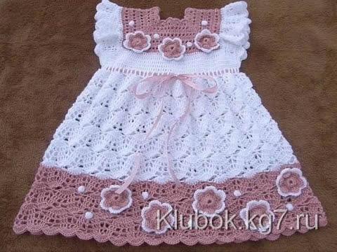 Vestido para niña tejido a crochet o ganchillo