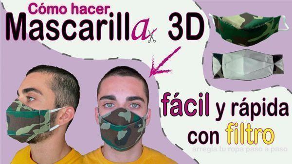 Mascarilla 3D con filtro Muy fácil de hacer