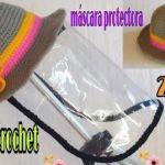 Gorro a crochet con pantalla protectora