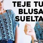 Blusa calada suelta tejida a crochet