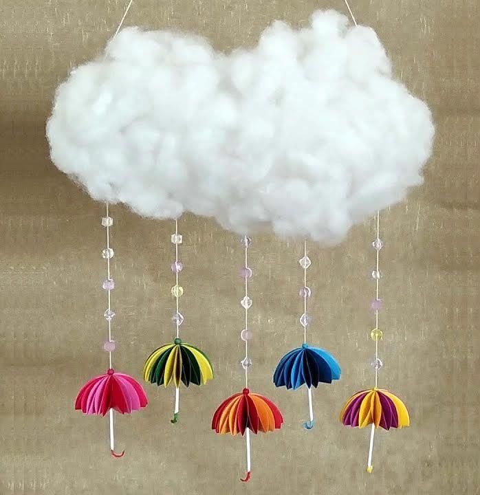 Nube con paraguas manualidad paso a paso