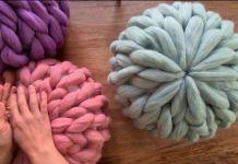 Cojín redondo con vellón de lana XXL DIY Tutorial con el paso a paso