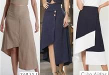 Falda midi asimétrica con patrones