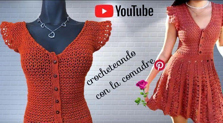 Vestido tejido a crochet para Primavera Verano