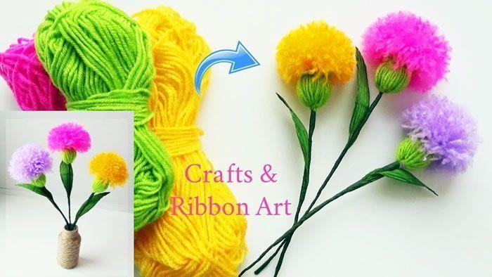DIY Flores realista con lana paso a paso