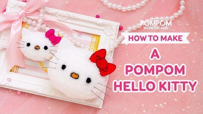 Pompones de Hello Kitty paso a paso