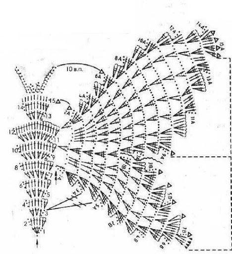 Grafico de top mariposa a crochet