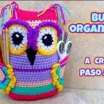 Búho organizador de ganchos para crochet