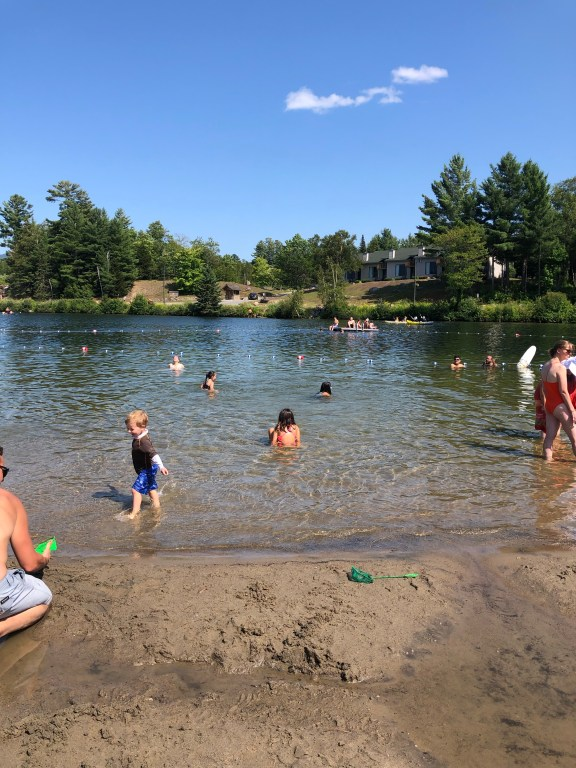 Lake Placid public beach #lakeplacid #mirrorlake #adirondacks #upstateNY #familytravel