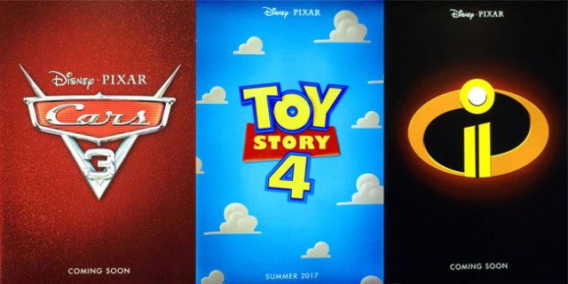 The sequels of Disney Pixar animations