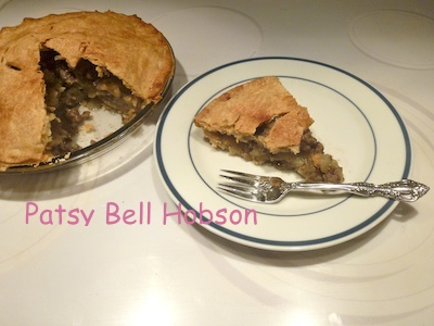 Sweet Italian sausage and apple pie.