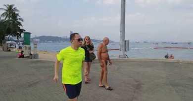 Strolling corpulent Beach Boulevard, 3 Km, in the morning. Pattaya Beach