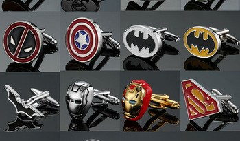 Film Avengers A Letter Logo Cufflinks Superhero Thor Star Wars Flash Deadpool Batman Tie Clips For Men Party Shirt Jewelry