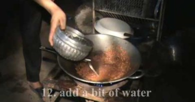 Thai food: Making frog curry dish in thailand