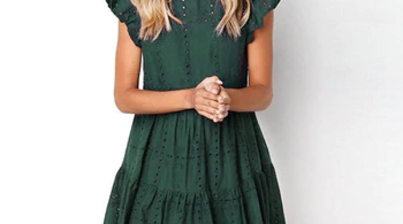 Hollow Out Ruched A-Line mini dress woman Ruffles Sleeve beach dress woman basic O-Neck dresses summer sukienka de verano#G6