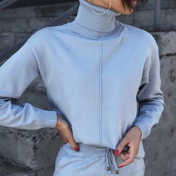 Women suit track costume 2 pieces sets Autumn winter turtleneck pullovers and long knitted pants knitted suits