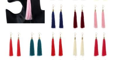 Vintage Ethnic Long Tassel Drop Earrings for Women Lady Fashion Bohemian White Red Silk
