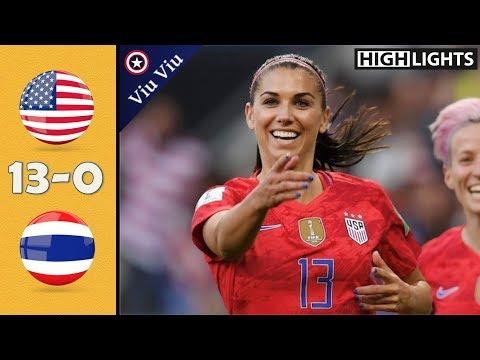 USA vs Thailand 13-0 All Goals & Highlights   2019 WWC