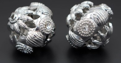 10pcs Rhodium tone African Beads Metal Hollow Crystal Paved Nigerian Spacer Beads for Men Women Wedding Jewelry Set Designs
