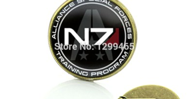 Elegant and charming winter style Mass Effect Inspired N7 jewelry Mass Effect brooch pins vintage geek men jewellery badge C488
