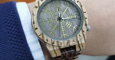 WOODME Handmade Helm of Awe or Vegvisir Antique Watch Man Wooden Watches Runic Circle Watch Men Quartz Wristwatch reloj hombre