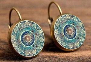 SUTEYI Charm Mandala Art Picture Earrings Henna Crystal Earring Yoga Om Symbol Zen Buddhism Glass Earrings For Women Jewellery
