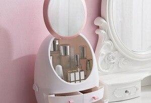 Cosmetic Storage Box Makeup Organizer Portable Desktop Cosmetic Storage Display Box Case With Mirror For Bathroom Dresser