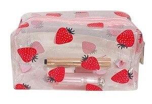 Cosmetic Bag Transparent PVC Fruit Print Cosmetic Wash Bag Women PVC Clear Travel Toiletry Storage Case Bath Wash Pouch Tote